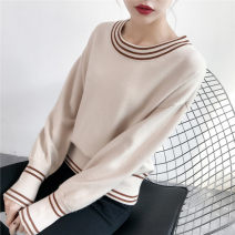 sweater Fall 2017 S M L Black yellow red Caramel Beige Navy green pink purple Long sleeves Socket singleton  Regular other 95% and above Crew neck thickening Sweet routine stripe Regular wool Keep warm and warm Ice face by058 thread Other 100% Pure e-commerce (online only)