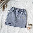 skirt 90cm,100cm,110cm,120cm,130cm,140cm,150cm,160cm blue Mo Mo Da female Cotton 95% other 5% summer skirt Korean version Solid color Denim skirt Cotton elastic denim Class A
