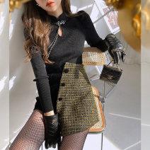 Fashion suit Winter 2020 XS,S,M,L Black - bottom shirt, beige - bottom shirt, black - dress (delivery customized waist cover), dark night flash gold - shorts, black - bottom shirt, beige - bottom shirt, black - dress (delivery customized waist cover), dark night flash gold - shorts Ziqing ZQ0Z2365