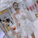 Dress Spring 2020 S,M,L Middle-skirt singleton  Short sleeve commute Crew neck High waist Solid color Socket other routine Others Type A Ziqing Korean version Diamond inlay 81% (inclusive) - 90% (inclusive) other polyester fiber
