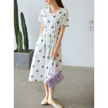 Dress Summer 2021 White, off white, light bean green Average size longuette singleton  Short sleeve commute V-neck Loose waist Dot Socket A-line skirt routine Others Type A The west is short Button, pocket, print, drawstring Q3401 More than 95% other cotton