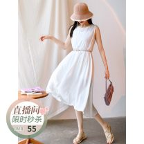 Dress Summer 2021 White, black, dark brown Average size Mid length dress singleton  Sleeveless commute Crew neck Loose waist Solid color Socket Big swing routine Type H The west is short make a slit or vent Q3443 More than 95% other cotton