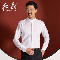 shirt Fashion City Hongdu 38 39 40 41 42 43 44 45 46 47 White sj3326-1 black sj19306-1 routine stand collar Long sleeves Self cultivation go to work Four seasons SJ3326-1 youth Cotton 100% Chinese style 2021 Solid color Color woven fabric Spring 2021 No iron treatment cotton More than 95%