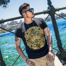 T-shirt Youth fashion routine XL 2XL 3XL 4XL 5XL 6XL Otto Rehhagel  Short sleeve Crew neck easy Other leisure summer Cotton 95% polyurethane elastic fiber (spandex) 5% Large size routine tide Spring of 2018 Ethnic style gilding cotton Retro nationality Fashion brand Pure e-commerce (online only)