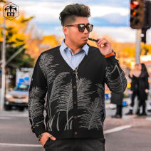 T-shirt / sweater Otto Rehhagel  Youth fashion black XL 2XL 3XL 4XL 5XL 6XL routine Cardigan V-neck Long sleeves autumn easy 2018 Polyacrylonitrile fiber (acrylic fiber) 55% cotton 45% leisure time tide Large size routine Plants and flowers Autumn of 2018 Regular wool (10 stitches, 12 stitches) other