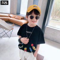 T-shirt White black collection added to shopping cart Zuo Xi 110cm 120cm 130cm 140cm 150cm 160cm male summer Short sleeve Crew neck leisure time There are models in the real shooting nothing cotton other Cotton 95% polyurethane elastic fiber (spandex) 5% 090202YZ Class B Summer 2021
