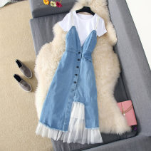 Dress Summer of 2018 Light blue suit, single dress S,M,L,XL Mid length dress Two piece set Short sleeve Sweet Crew neck High waist Solid color Socket A-line skirt other Others Type A Kakaya Splicing, mesh 51% (inclusive) - 70% (inclusive) Denim polyester fiber princess