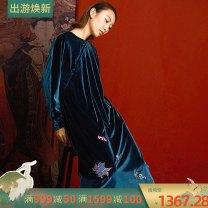 cheongsam Fall 2017 S M Long sleeves long cheongsam Retro No slits daily Oblique lapel 25-35 years old RECLUSE polyester fiber Polyester 92.8% polyurethane elastic fiber (spandex) 7.2%