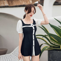 Split swimsuit Nuoximan black M,L,XL Skirt split swimsuit With chest pad without steel support nylon NXM2117 female
