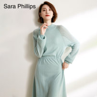 Dress Autumn 2020 Green bean with rice S M L Mid length dress singleton  Long sleeves commute Half high collar Solid color Socket other raglan sleeve 30-34 years old Type X sara phillips YCAWF102005 More than 95% other Cashmere (cashmere) 100% Pure e-commerce (online only)