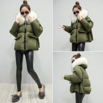 Cotton padded clothes Black, army green M,L,XL,2XL Winter 2017 Other / other have cash less than that is registered in the accounts Long sleeves thickening zipper commute Hood Bat sleeve Straight cylinder Solid color Korean version With fur collar, pocket, zipper