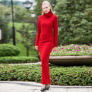 Dress Winter of 2019 claret S M L XL 2XL 3XL 4XL longuette singleton  Long sleeves commute High collar middle-waisted Solid color Socket Big swing Others 40-49 years old Tiffany Runchi Retro SS6503 More than 95% knitting polyester fiber Polyester 95% polyurethane elastic fiber (spandex) 5%