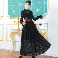 Dress Autumn 2020 black S M L XL 2XL 3XL 4XL longuette singleton  Long sleeves commute Half high collar middle-waisted Solid color Socket Big swing pagoda sleeve Others 40-49 years old Type A Tiffany Runchi Retro DZ1244 More than 95% Lace polyester fiber Polyethylene terephthalate (polyester) 100%