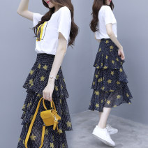 Dress Spring 2021 Star yellow (complete set), skirt, printed top S,M,L,XL Mid length dress Two piece set Short sleeve commute Crew neck middle-waisted character Socket Cake skirt routine Type X Miss Missy Korean version Zipper, print L1914
