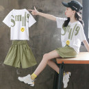 suit Luofeng white 120cm 130cm 140cm 150cm 160cm 170cm female summer Korean version Short sleeve + pants 2 pieces Thin money There are models in the real shooting Socket nothing other Cotton blended fabric children Giving presents at school Class B Other 100% Summer 2020 Chinese Mainland