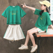 suit Luofeng green 120cm 130cm 140cm 150cm 160cm 170cm female summer Korean version Short sleeve + pants 2 pieces Thin money There are models in the real shooting Socket nothing other other children Giving presents at school LF-TK-1013-1 Class B Other 100% Summer of 2019 Chinese Mainland