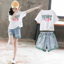 suit Luofeng white 120cm 130cm 140cm 150cm 160cm 170cm female summer Korean version Short sleeve + pants 2 pieces Thin money There are models in the real shooting Socket nothing other Cotton blended fabric children Giving presents at school LF-20XT181 Class B Other 100% Summer 2020 Chinese Mainland