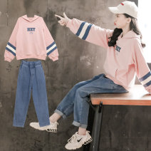suit Luofeng Pink 120CM 130CM 140CM 150CM 160CM 170CM female spring and autumn Korean version Long sleeve + pants 2 pieces routine There are models in the real shooting Socket nothing other Cotton blended fabric children Expression of love 20CT71-21 Class B Other 100% Spring 2021 Chinese Mainland