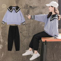 suit Luofeng blue 120CM 130CM 140CM 150CM 160CM 170CM female spring and autumn Korean version Long sleeve + pants 2 pieces routine There are models in the real shooting Socket nothing other other children Giving presents at school Class B Other 100% Spring 2021 Chinese Mainland Guangdong Province
