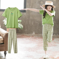 suit Luofeng Avocado Green 110cm 120cm 130cm 140cm 150cm 160cm 165cm female summer Korean version Short sleeve + pants 2 pieces Thin money There are models in the real shooting Socket nothing lattice Cotton blended fabric friend Giving presents at school LF-20XT12 Class B Other 100% Summer 2020