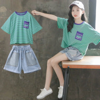 suit Luofeng Blue stripe 120cm 130cm 140cm 150cm 160cm 170cm female summer Korean version Short sleeve + pants 2 pieces Thin money There are models in the real shooting Socket nothing other Cotton blended fabric children Giving presents at school Class B Other 100% Summer 2020 Chinese Mainland
