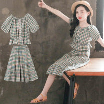 Dress Blue check female Luofeng Other 100% summer Korean version Short sleeve lattice other A-line skirt LF-20XT18 Class B Summer 2020 3 years old, 4 years old, 5 years old, 6 years old, 7 years old, 8 years old, 9 years old, 10 years old, 11 years old, 13 years old, 14 years old Chinese Mainland