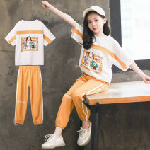 suit Luofeng white female summer Korean version Short sleeve + pants 2 pieces Thin money There are models in the real shooting Socket nothing other other children Giving presents at school Class B Other 100% Summer 2020 Chinese Mainland Guangdong Province