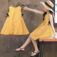 Dress yellow female Luofeng Tag 110 for height 100 ~ 110cm tag 120 for height 110 ~ 120cm tag 130 for height 120 ~ 130cm tag 140 for height 130 ~ 140cm tag 150 for height 140 ~ 150cm tag 160 for height 150 ~ 160cm Cotton 100% summer Korean version Skirt / vest other Cotton blended fabric other