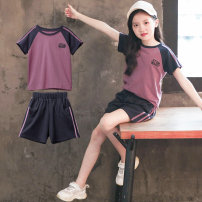 suit Luofeng violet female summer Korean version Short sleeve + pants 2 pieces routine There are models in the real shooting Socket nothing other other children Expression of love Class B Other 100% Summer 2021 Chinese Mainland Guangdong Province
