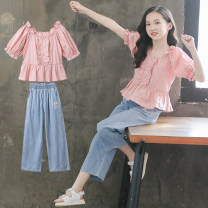 suit Luofeng Peach  120cm 130cm 140cm 150cm 160cm 170cm female summer Korean version Short sleeve + pants 2 pieces Thin money There are models in the real shooting Socket nothing other other children Learning reward Class B Other 100% Summer 2020 Chinese Mainland Guangdong Province