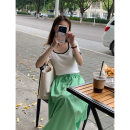 skirt Summer 2021 Average size Black, white, green Short skirt Pleated skirt Solid color 18-24 years old other THXGIVING other fold