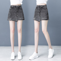 Jeans Summer 2021 Smoke grey blue 26/S 27/M 28/L 29/XL 30/XXL 31/3XL 32/4XL shorts High waist Wide legged trousers routine 30-34 years old Button pocket Cotton elastic denim light colour J9826 Magic bean 71% (inclusive) - 80% (inclusive) Pure e-commerce (online only)