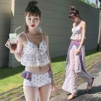 Bikini Listen to the waves M L XL XXL Skirt bikini Steel strap breast pad Spandex polyester Summer of 2019