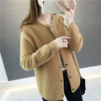 Wool knitwear Autumn of 2018 S M L XL Black Khaki red (sold out, please don't shoot)) blue (sold out, please don't shoot)) beibai Long sleeves singleton  Cardigan Viscose 51% (inclusive) - 70% (inclusive) Regular thick commute easy Low crew neck routine Solid color Single breasted Korean version