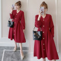 Women's large Spring 2021, autumn 2021 154 red M. Large L, large XL, 2XL, 3XL, 4XL, 5XL, 6xl, 7XL Dress singleton  commute moderate Socket Long sleeves Korean version polyester Collage 25-29 years old longuette