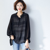 Women's large Autumn 2020 6952 black 2xl170-200kg, 3xl200-235kg, 4xl235-270kg, 5xl270-310kg Other oversize styles singleton  commute moderate Socket Long sleeves Korean version polyester Collage 25-29 years old