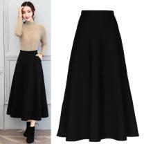 skirt Summer 2020 M,L,XL,2XL,3XL,4XL Black, Burgundy, red striped hood Mid length dress Versatile Natural waist A-line skirt Solid color Type A 25-29 years old Splicing