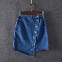 skirt Spring of 2019 XS,S,M,L Dark blue Short skirt sexy High waist Irregular Solid color 18-24 years old Denim