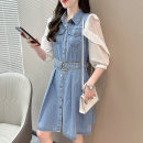 Dress Summer 2021 blue L XL longuette singleton  Long sleeves commute Polo collar High waist Solid color Single breasted A-line skirt routine Others 25-29 years old Type A Yongjitemi Korean version Button ZP6251 More than 95% Denim other Other 100% Pure e-commerce (online only)