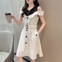 Dress Spring 2021 white L XL longuette singleton  Short sleeve commute V-neck High waist Solid color Socket A-line skirt routine camisole 25-29 years old Type A Yongjitemi Korean version Button More than 95% other Other 100% Pure e-commerce (online only)