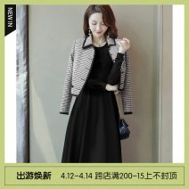 Dress Spring 2021 Black inside and thousand birds outside S,M,L,XL,2XL Mid length dress Two piece set Long sleeves commute Polo collar High waist Solid color Socket A-line skirt routine 25-29 years old Type A Other / other Korean version Button M0QG8A04790 31% (inclusive) - 50% (inclusive) other