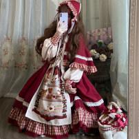 Dress Winter 2020 Red skirt + Cape, red single skirt Small, large Middle-skirt Long sleeves Sweet High waist Cartoon animation Princess Dress Bow, ruffle, flocking, stitching Lolita