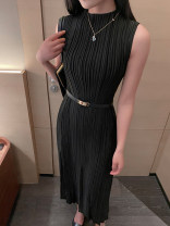 Dress Spring 2021 black Average size longuette singleton  Sleeveless commute Crew neck High waist Solid color Socket A-line skirt routine Others 25-29 years old Type A Splicing knitting polyester fiber