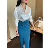 skirt Spring 2021 XS,S,M,L Malachite blue commute Solid color 30-34 years old DL796 31% (inclusive) - 50% (inclusive) other Button