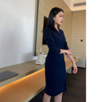 Dress Winter 2020 navy blue XS,S,M,L Mid length dress singleton  Long sleeves commute V-neck High waist Solid color One pace skirt routine zipper polyester fiber