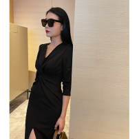 Dress Spring 2020 black XS,S,M,L Mid length dress singleton  Long sleeves commute V-neck High waist Solid color double-breasted One pace skirt routine Type H zipper 51% (inclusive) - 70% (inclusive) polyester fiber