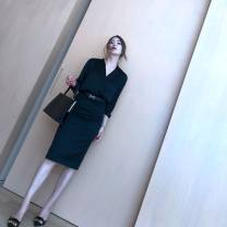 skirt Spring 2021 XS,S,M,L,XL Black, khaki, dark grey, off white Mid length dress commute High waist Pencil skirt Solid color Type H 25-29 years old 81% (inclusive) - 90% (inclusive) Simplicity