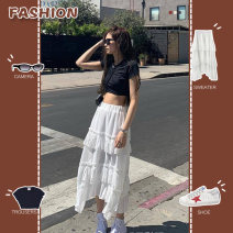 skirt Summer 2021 S,M,L white longuette Versatile High waist Cake skirt Type H 18-24 years old A135 Laykey / rankey