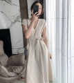 Dress Summer 2021 Classic black, creamy white S,M,L,XL longuette singleton  Long sleeves commute V-neck High waist Solid color A-line skirt Flying sleeve Others Type A Korean version Frenulum other polyester fiber