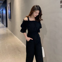 Lace / Chiffon Summer 2021 Black, yellow M [85-100 Jin], l [100-115 Jin], XL [115-130 Jin], 2XL [130-150 Jin], 3XL [150-170 Jin], 4XL [170-200 Jin] Short sleeve commute easy One word collar Solid color routine Other / other 51% (inclusive) - 70% (inclusive)